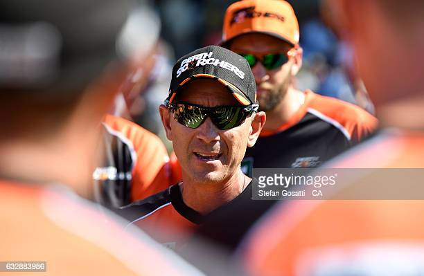 Justin Langer coach of the Scorchers talks to him team before the Big Bash League match between the Perth Scorchers and the Sydney Sixers at WACA on...