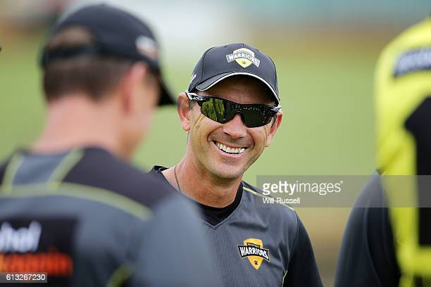 Justin Langer coach of the Warriors at the warm up before the Matador BBQs One Day Cup match between Western Australia and Victoria at WACA on...