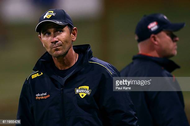 Justin Langer coach of the Warriors looks on after the Matador BBQs One Day Cup match between Western Australia and South Australia at WACA on...
