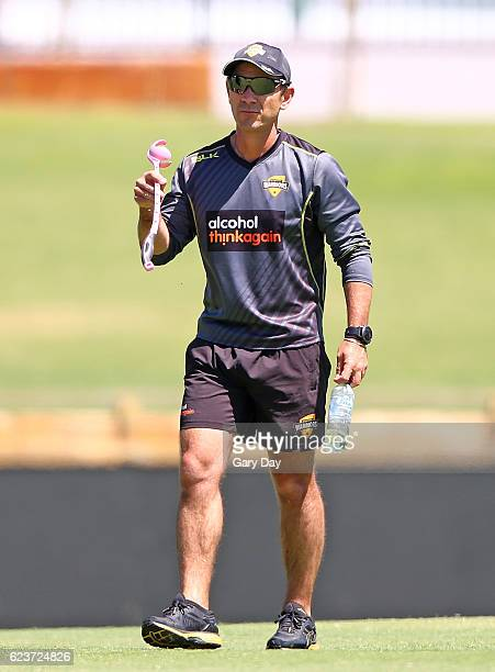 Justin Langer Head Coach of the Western Warriors during day one of the Sheffield Shield match between Western Australia and Tasmania at WACA on...