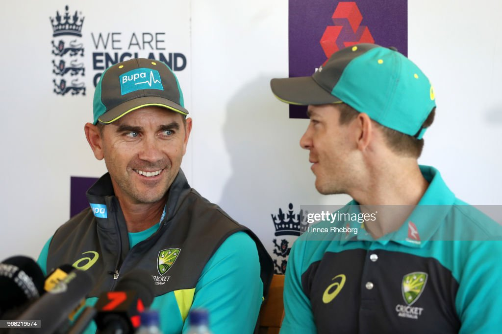 Justin Langer, Manager of Australia (L) and Tim Paine of Australia (R) shares a joke during a press conference at Lord's Cricket Ground on June 6, 2018 in London, England.