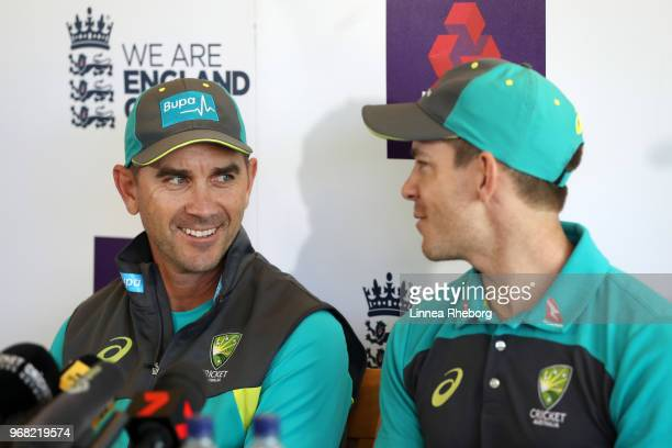 Justin Langer Manager of Australia and Tim Paine of Australia shares a joke during a press conference at Lord's Cricket Ground on June 6 2018 in...