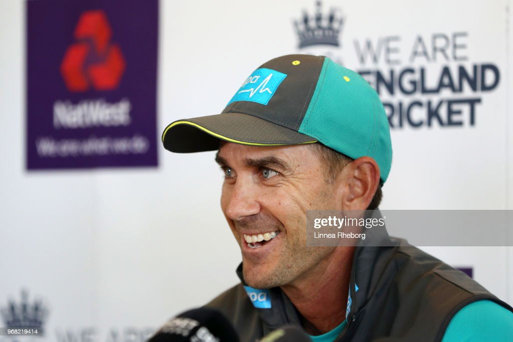 Justin Langer, Manager of Australia reacts during a press conference at Lord's Cricket Ground on June 6, 2018 in London, England.