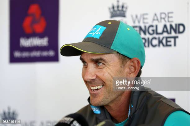 Justin Langer Manager of Australia reacts during a press conference at Lord's Cricket Ground on June 6 2018 in London England