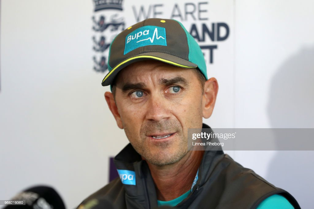 Justin Langer, Manager of Australia speaks to the media during a press conference at Lord's Cricket Ground on June 6, 2018 in London, England.