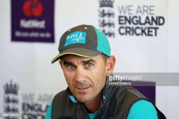 Justin Langer Manager of Australia speaks to the media during a press conference at Lord's Cricket Ground on June 6 2018 in London England