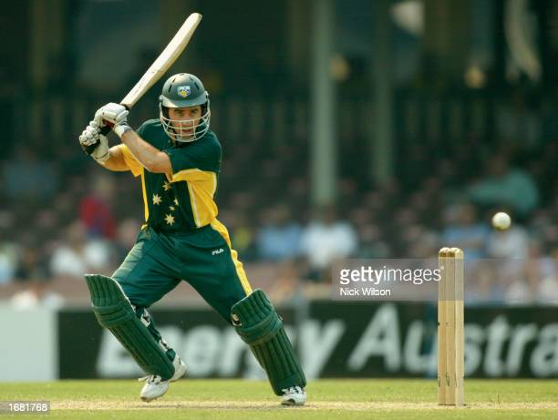 Justin Langer of Australia A hits out during the One Day Tour match between Australia A and England being played at the Sydney Cricket Ground in...