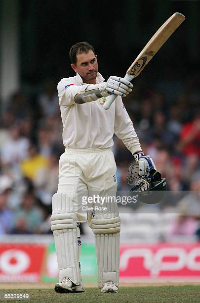 Justin Langer of Australia celebrates scoring his century during day three of the fifth npower Ashes Test match between England and Australia at the...