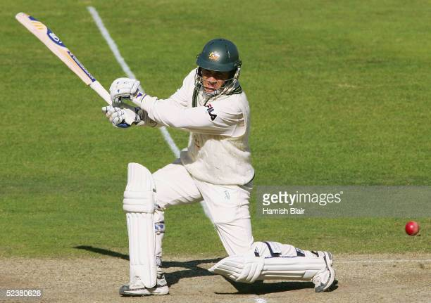 Justin Langer of Australia in action during day four of the 1st Test between New Zealand and Australia played at Jade Stadium on March 13 2005 in...