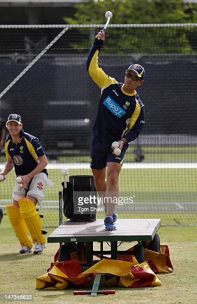 Justin Langer of Australia sends down some high throwdowns during the Australia nets session at Lord's Cricket Ground on June 28 2012 in London...