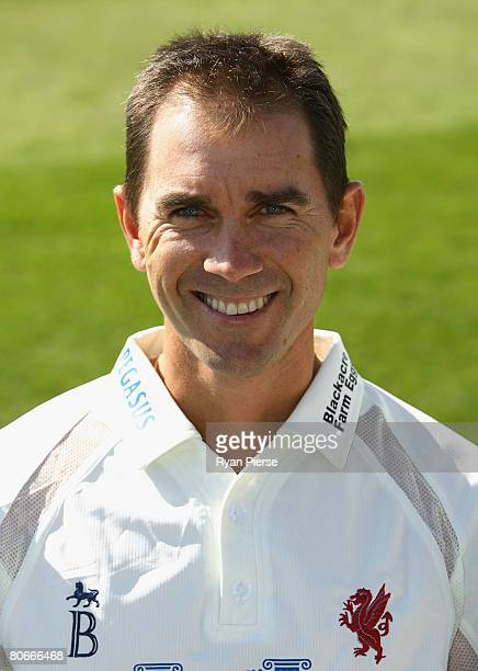 Justin Langer of Somerset poses during the Somerset County Cricket Club Photocall at the County Ground on April 14 2008 in Taunton England