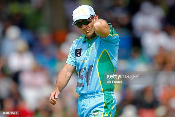 Justin Langer of the Legends XI looks on during the Twenty20 match between the Perth Scorchers and Australian Legends at Aquinas College on December...