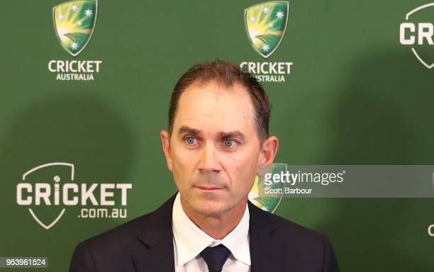 Justin Langer speaks to the media during a press conference on May 3 2018 in Melbourne Australia Langer has been appointed the Team Head Coach of the...