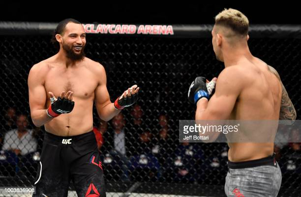 Justin Ledet taunts Aleksandar Rakic of Austria in their light heavyweight bout during the UFC Fight Night at Barclaycard Arena on July 22 2018 in...