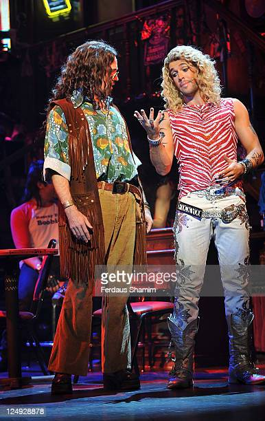 Justin Lee Collins and Shayne Ward promote the new show 'Rock of Ages The Musical' at Shaftesbury Theatre on September 14 2011 in London England