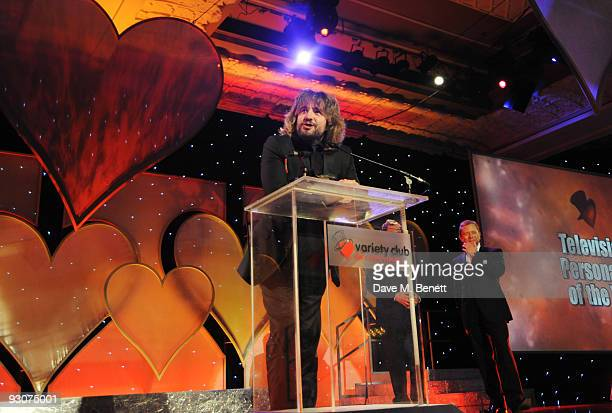 Justin Lee Collins with the Television Presenter of The Year Award attends the Variety Club Showbiz Awards at the Grosvenor House on November 15 2009...
