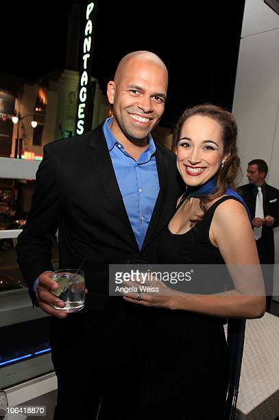 Justin Lee Miller and Elisabeth Welch attend the Phantom of the Opera closing night party at the W Hotel on October 31 2010 in Los Angeles California