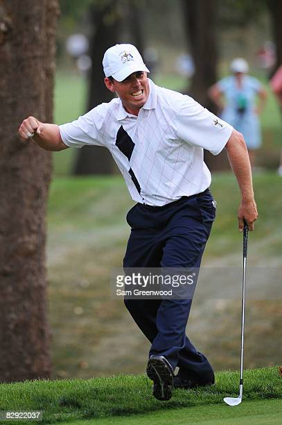 Justin Leonard of the USA team celebrates chipping in on the 15th hole during the afternoon fourball matches on day one of the 2008 Ryder Cup at...