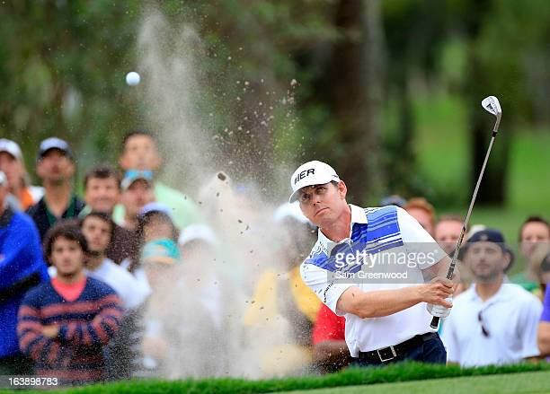 Justin Leonard plays a shot on the 17th hole during the final round of the Tampa Bay Championship at the Innisbrook Resort and Golf Club on March 17...