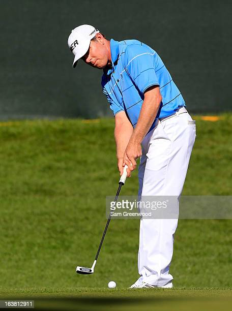 Justin Leonard plays a shot on the 18th hole during the third round of the Tampa Bay Championship at the Innisbrook Resort and Golf Club on March 16...
