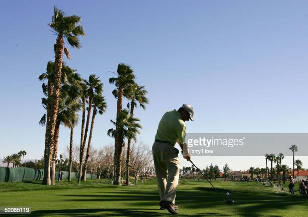 Justin Leonard tees off on the sixth hole during the final round of the Bob Hope Classic at the PGA West Palmer Course on January 30 2005 in La...