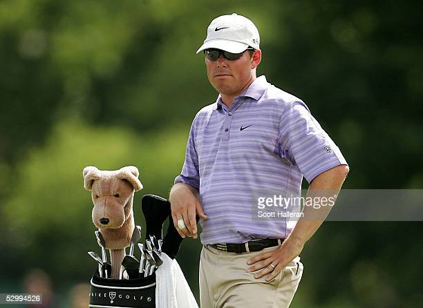 Justin Leonard waits in the 13th fairway during the third round of the Fed Ex St. Jude Classic at the TPC Southwind on May 28, 2005 in Memphis,...