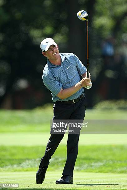 Justin Leonard watches his shot on the sixth hole during round three of the 90th PGA Championship at Oakland Hills Country Club on August 9, 2008 in...