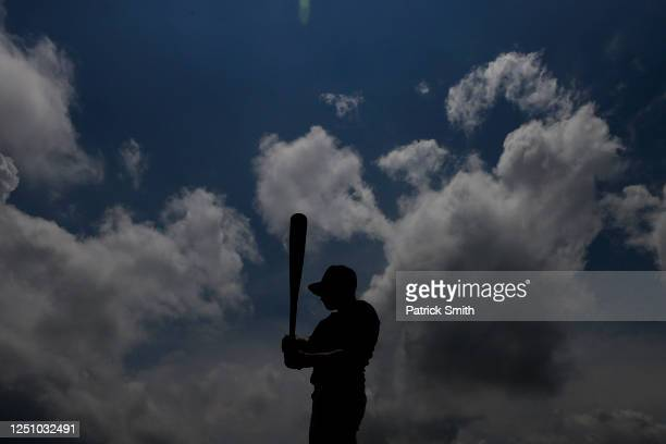 Justin Lewis of the Hagerstown Braves stands on deck before batting practice and playing against the Hanover Raiders in a doubleheader in the South...
