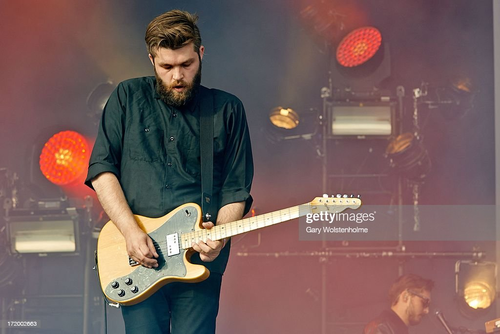 Justin Lockey of Editors performs on stage on Day 4 of Glastonbury Festival at Worthy Farm on June 30, 2013 in Glastonbury, England.
