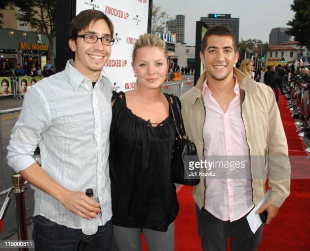 Justin Long Kaitlin Doubleday and Jonathan Togo during Knocked Up Los Angeles Premiere Red Carpet at Mann's Village Theater in Westwood California...