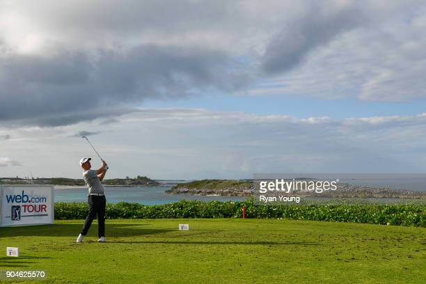 Justin Lower plays his shot from the 13th tee during the first round of the Webcom Tour's The Bahamas Great Exuma Classic at Sandals Emerald Bay...