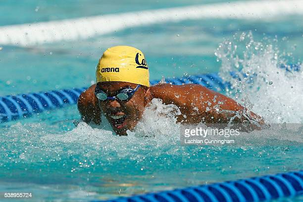 Justin Lynch swims in the heats of the 100m butterfly during day one of the 2016 Arena Pro Swim Series at Santa Clara at George F Haines...
