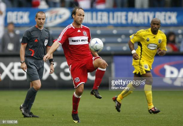 Justin Mapp of the Chicago Fire handles the ball during the second half against the Columbus Crew at Toyota Park on September 20 2009 in Bridgeview...