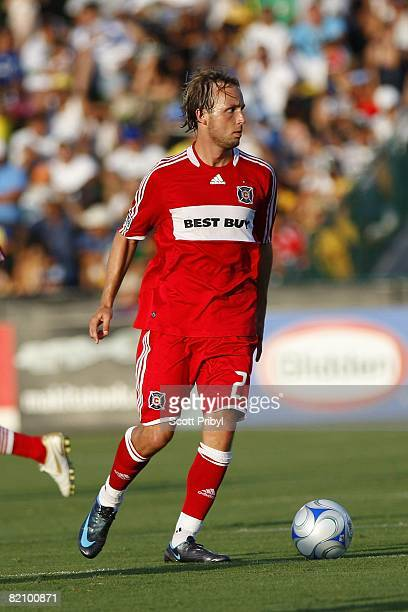 Justin Mapp of the Chicago Fire looks to pass the ball against the Kansas City Wizards during the game at Community America Ballpark on July 27 2008...
