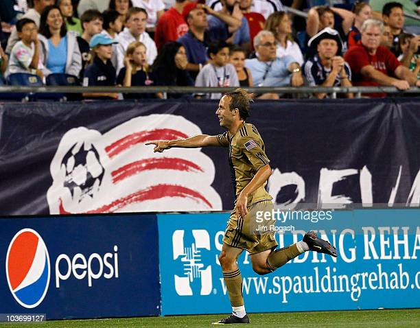 Justin Mapp of the Philadelphia Union reacts after he scored the winning goal against the New England Revolution at Gillette Stadium on August 28,...