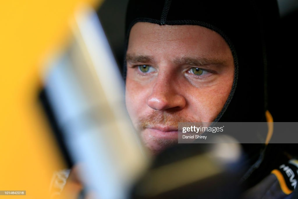 Justin Marks, driver of the #42 Chevrolet Accessories Chevrolet, sits in his car during practice for the NASCAR Xfinity Series Rock N Roll Tequila 170 presented by Amethyst Beverage at Mid-Ohio Sports Car Course on August 10, 2018 in Lexington, Ohio.