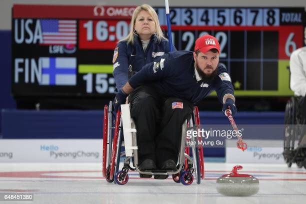 Justin Marshall from USA delivers a stone during the World Wheelchair Curling Championship 2017 test event for PyeongChang 2018 Winter Olympic Games...
