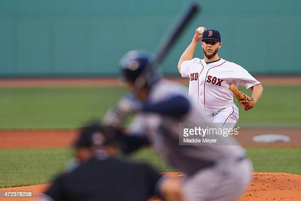 Justin Masterson of the Boston Red Sox pitches against the Tampa Bay Rays during the first inning at Fenway Park on May 6 2015 in Boston Massachusetts