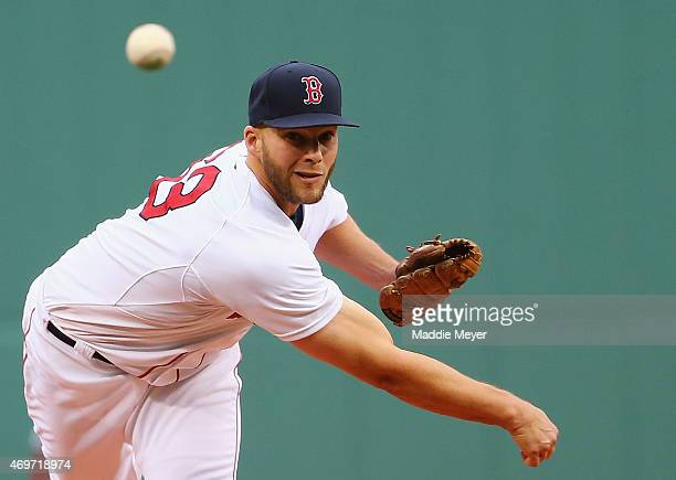 Justin Masterson of the Boston Red Sox pitches against the Washington Nationals during the first inning at Fenway Park on April 14 2015 in Boston...