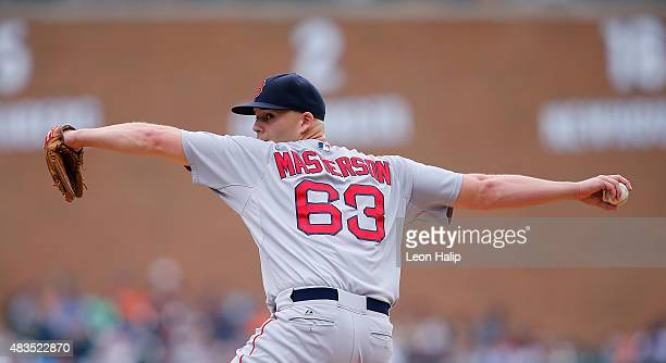 Justin Masterson of the Boston Red Sox pitches during the eight inning of the game against the Detroit Tigers on August 9 2015 at Comerica Park in...