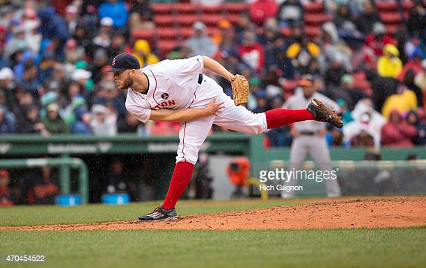Justin Masterson of the Boston Red Sox pitches during the fifth inning against the Baltimore Orioles at Fenway Park on April 20 2015 in Boston...