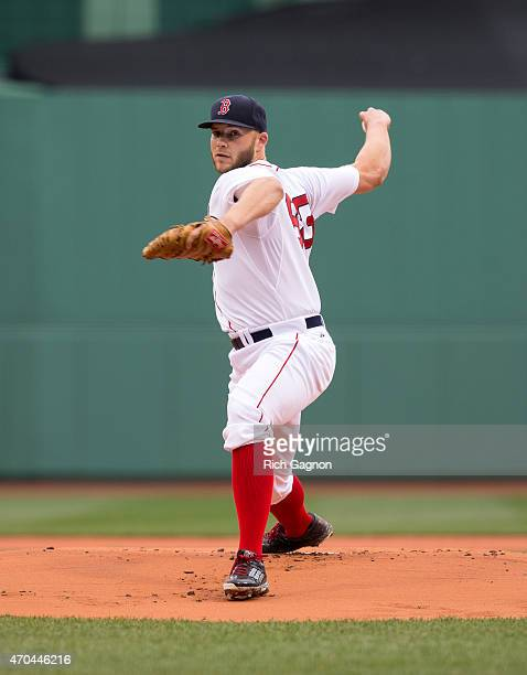 Justin Masterson of the Boston Red Sox pitches during the first inning against the Baltimore Orioles at Fenway Park on April 20 2015 in Boston...