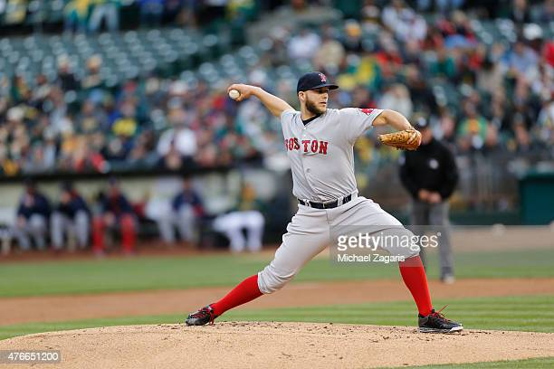Justin Masterson of the Boston Red Sox pitches during the game against the Oakland Athletics at Oco Coliseum on May 12 2015 in Oakland California The...