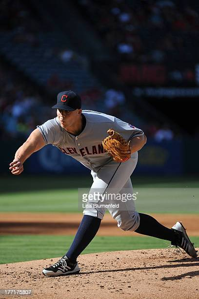 Justin Masterson of the Cleveland Indians pitches against the Los Angeles Angels of Anaheim at Angel Stadium of Anaheim on August 21 2013 in Anaheim...