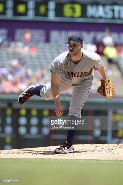 Justin Masterson of the Cleveland Indians pitches against the Texas Rangers at Globe Life Park in Arlington on June 8 2014 in Arlington Texas The...