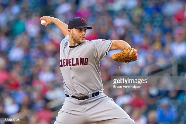 Justin Masterson of the Cleveland Indians pitches against the Minnesota Twins on September 29 2013 at Target Field in Minneapolis Minnesota The...