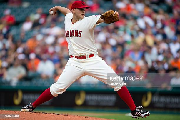Justin Masterson of the Cleveland Indians pitches during the first inning against the Baltimore Orioles at Progressive Field on September 2 2013 in...