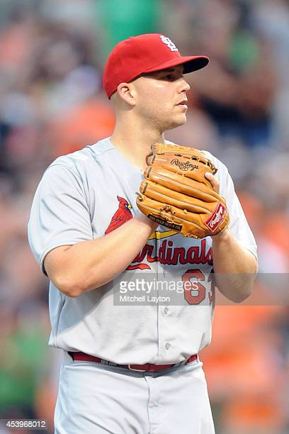 Justin Masterson of the St Louis Cardinals pitches during a baseball game against the Baltimore Orioles on August 8 2014 at Oriole Park at Camden...