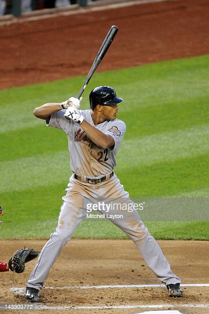Justin Maxwell of the Houston Astros prepares for a pitch during a baseball game against the Washington Nationals at Nationals Park on April 17 2012...