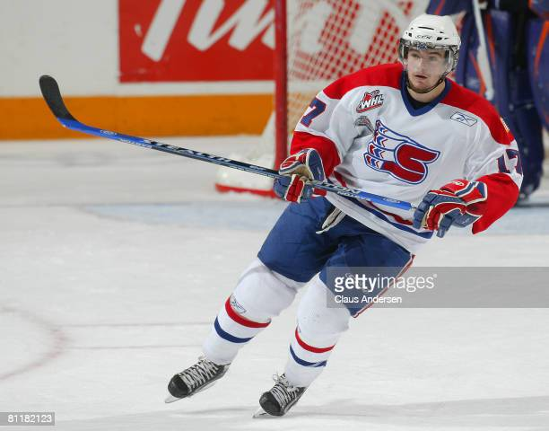 Justin McCrae of the Spokane Chiefs skates against the Gatineau Olympiques in Game 5 of the Memorial Cup round robin on May 20, 2008 at the Kitchener...